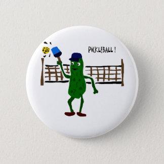 Pickle Playing Pickleball Primitive Art Pinback Button