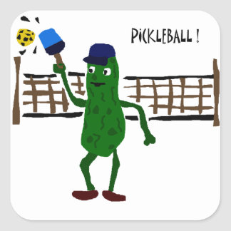 Pickle Playing Pickleball Primitive Art Square Sticker