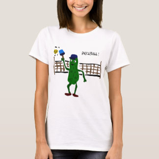 Pickle Playing Pickleball Primitive Art T-Shirt