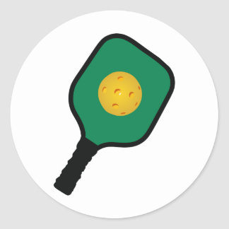 PICKLEBALL AND PADDLE CLASSIC ROUND STICKER