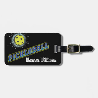 Pickleball Ball With Starburst Gear Bag Tag