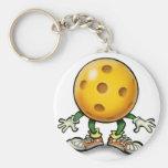 Pickleball Basic Round Button Keychain