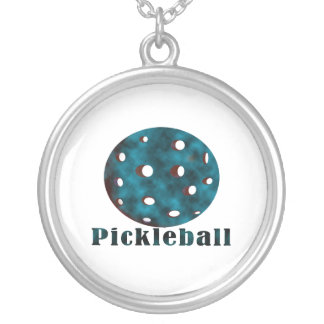 pickleball clouded blue text n ball .png round pendant necklace