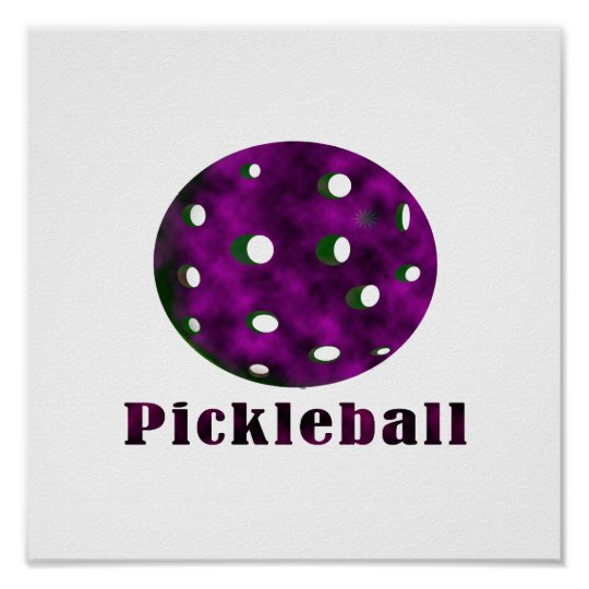 pickleball clouded purple text n ball .png poster