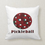 pickleball clouded red text n ball .png pillow