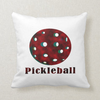 pickleball clouded red text n ball .png throw pillow
