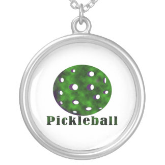 pickleball clouded text n ball green.png round pendant necklace