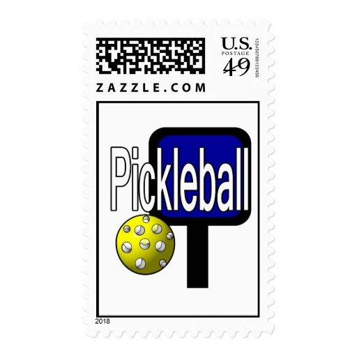 Pickleball, con la imagen del diseño de la bola y sello