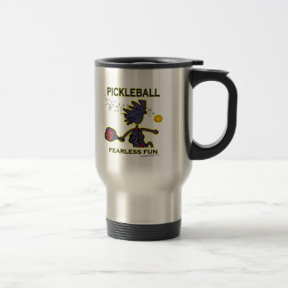 Pickleball Fearless Fun 15 Oz Stainless Steel Travel Mug