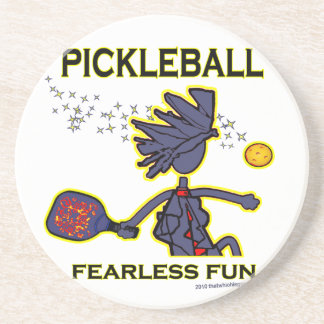 Pickleball Fearless Fun Beverage Coasters