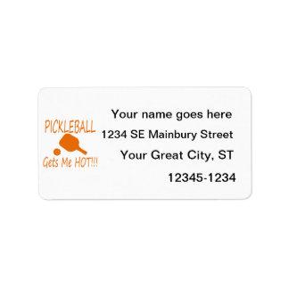 pickleball gets me hot orange address label