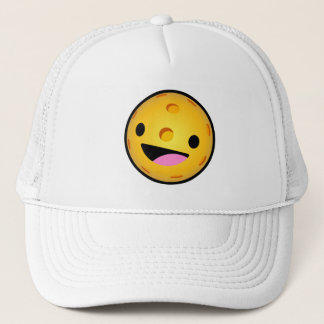 Pickleball Hat: Happy Pickleball (White) Trucker Hat