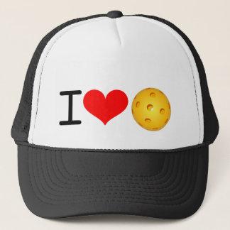 """Pickleball Hat: """"I Love Pickleball"""" (Black) Trucker Hat"""