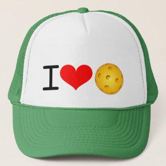 """Pickleball Hat: """"I Love Pickleball"""" (Green) Trucker Hat"""