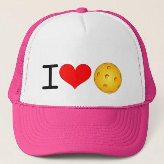 """Pickleball Hat: """"I Love Pickleball"""" (Pink) Trucker Hat"""