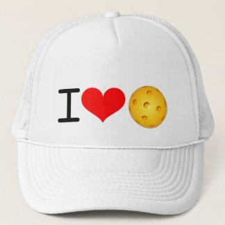 """Pickleball Hat: """"I Love Pickleball"""" (White) Trucker Hat"""