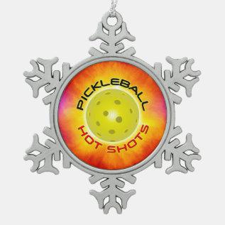 Pickleball Hot Shots 1 Pewter Snowflake Ornament at Zazzle