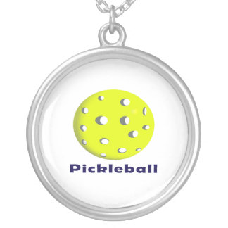 pickleball just ball n text.png silver plated necklace