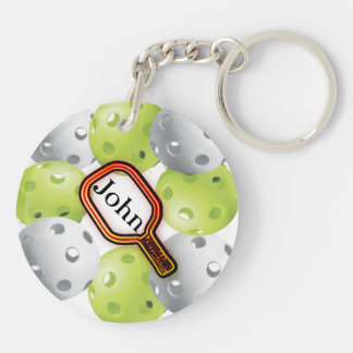 Pickleball Keychain/front/back - with name Double-Sided Round Acrylic Keychain