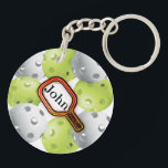 """Pickleball Keychain/front/back - with name Keychain<br><div class=""""desc"""">Pickleball keychain - front/back</div>"""
