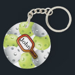 "Pickleball Keychain/front/back - with name Keychain<br><div class=""desc"">Pickleball keychain - front/back</div>"