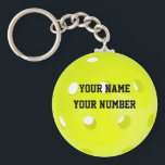 """Pickleball Keychain ID Tag YOUR NAME &amp; Number<br><div class=""""desc"""">This is a great way to ID your keys or sports bag. Easy template to use for personalizing with your name &amp; number.</div>"""
