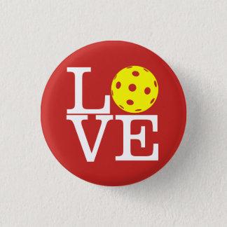 Pickleball Mini Button: LOVE (Red) Pinback Button