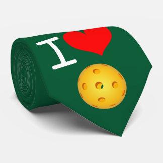 Pickleball Necktie: I Love Pickleball (Green) Tie