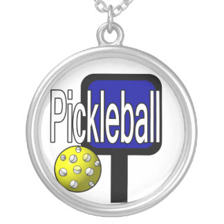 Pickleball paddle and ball necklace design