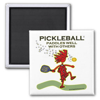 Pickleball Paddles Well With Others 2 Inch Square Magnet