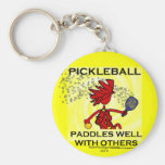 Pickleball Paddles Well With Others Basic Round Button Keychain