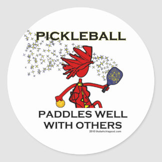 Pickleball Paddles Well With Others Classic Round Sticker