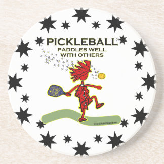 Pickleball Paddles Well With Others Beverage Coasters