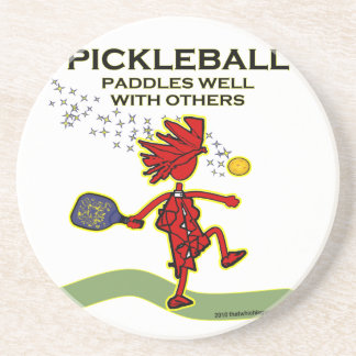 Pickleball Paddles Well With Others Beverage Coaster
