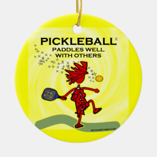 Pickleball Paddles Well With Others Double-Sided Ceramic Round Christmas Ornament