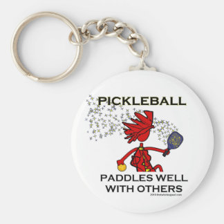 Pickleball Paddles Well With Others Keychain