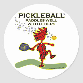 Pickleball Paddles Well With Others Round Stickers