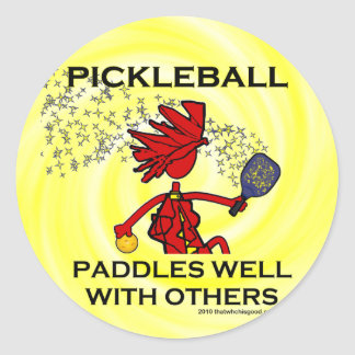 Pickleball Paddles Well With Others Sticker