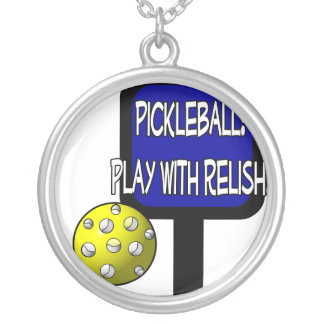 Pickleball - Play with Relish Design gift idea Personalized Necklace
