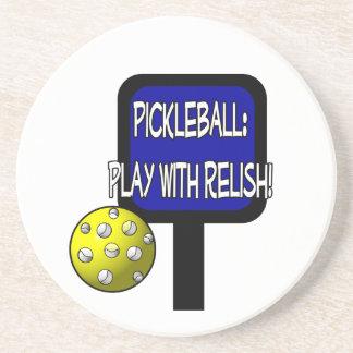 Pickleball - Play with Relish! Design gift idea Sandstone Coaster