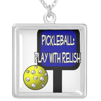 Pickleball - Play with Relish! Design gift idea Square Pendant Necklace
