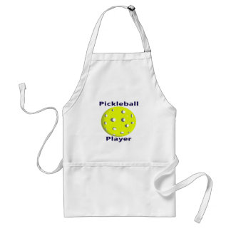 Pickleball Player Blue Text Yellow Ball Design Adult Apron