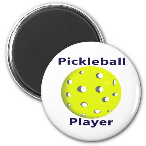 Pickleball Player Blue Text Yellow Ball Design 2 Inch Round Magnet