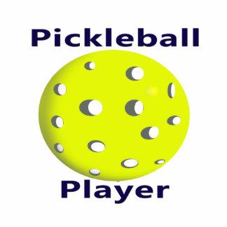 Pickleball Player Blue Text Yellow Ball Design Photo Sculpture