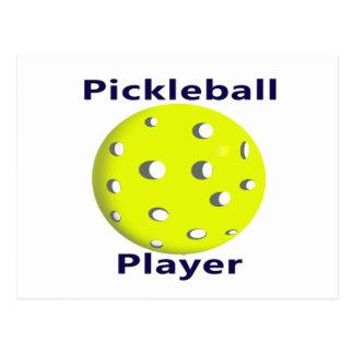 Pickleball Player Blue Text Yellow Ball Design Postcard