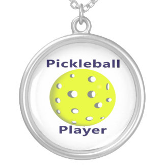 Pickleball Player Blue Text Yellow Ball Design Round Pendant Necklace