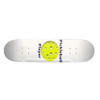 Pickleball Player Blue Text Yellow Ball Design Skateboard