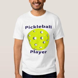 Pickleball Player Blue Text Yellow Ball Design T Shirt