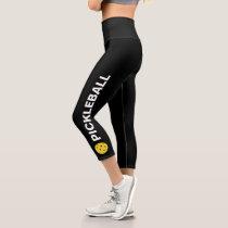 Pickleball Player Custom High Waisted Black Yellow Capri Leggings