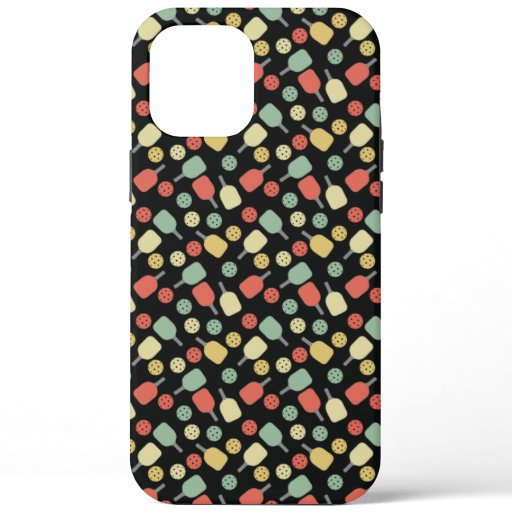 Pickleball Player Paddle and Ball Pattern iPhone 12 Pro Max Case